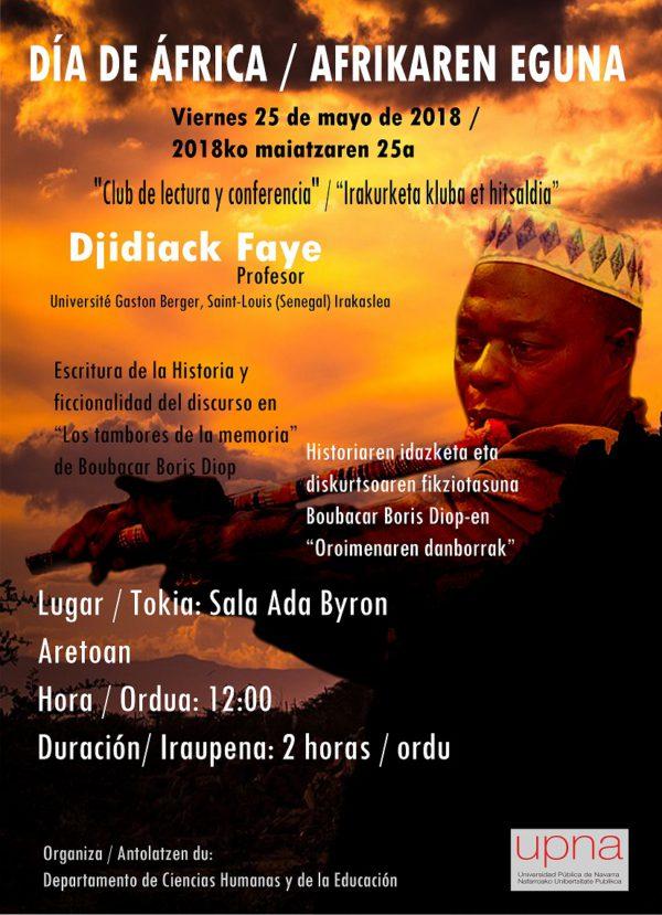 Conferencia de Djidiack Faye, experto en literatura por el Día de África
