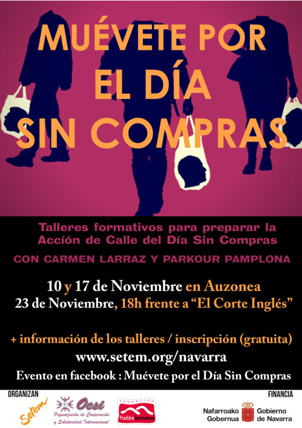MUÉVETE POR EL DÍA SIN COMPRAS. Taller performance con Carmen Larraz y Parkour Pamplona.