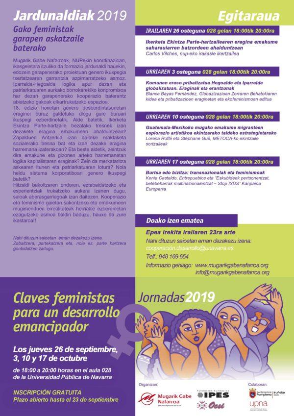 """Jornadas 2019 """"Claves feministas para un desarrollo emancipador""""/ """"Gako feministak garapen askatzaile baterako"""" jardunaldiak 2019"""
