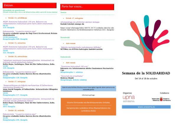 Semana de la Solidaridad de la UPNA (14 al 18 Octubre)